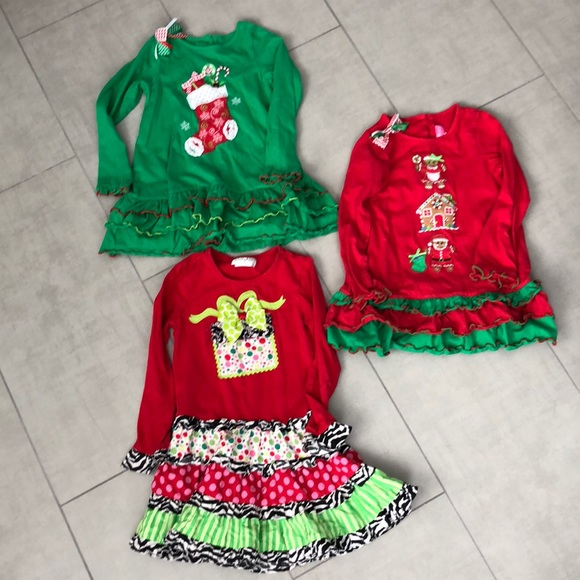 lot of 3 adorable christmas boutique outfits